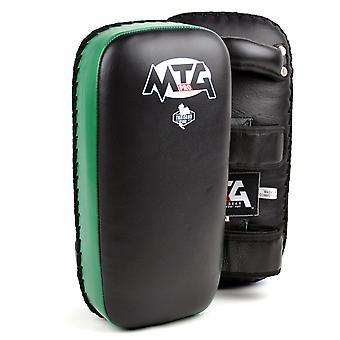 MTG Pro Black-Green Leather Thai Pads