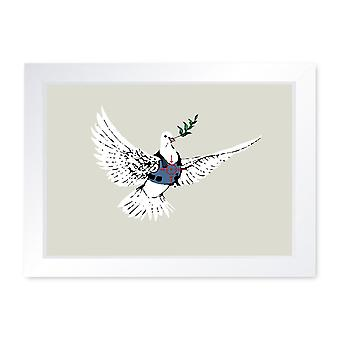 Banksy Armoured Dove, Quality Framed Print - Home Decor Kitchen Bathroom Man Cave Wall Art