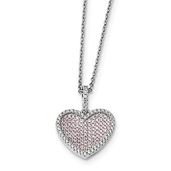 925 Sterling Silver Pave Rhodium-plated Lobster Claw Closure and Cubic Zirconia Brilliant Embers Heart Necklace - 18 Inc