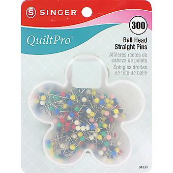 Quiltpro Ball Head Straight Pins In Flower Case Size 17 1 1 16