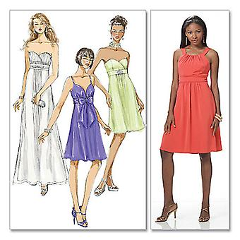 Misses' Lined Dresses In 2 Lengths And Necktie  14  16  18  20 Pattern M6029  Ee0
