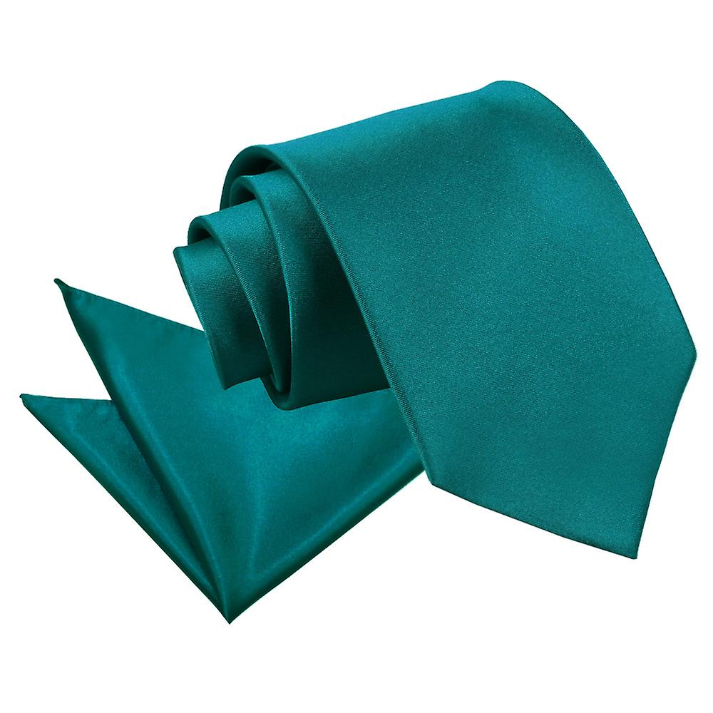 Plain Teal Satin Tie 2 pc. Set