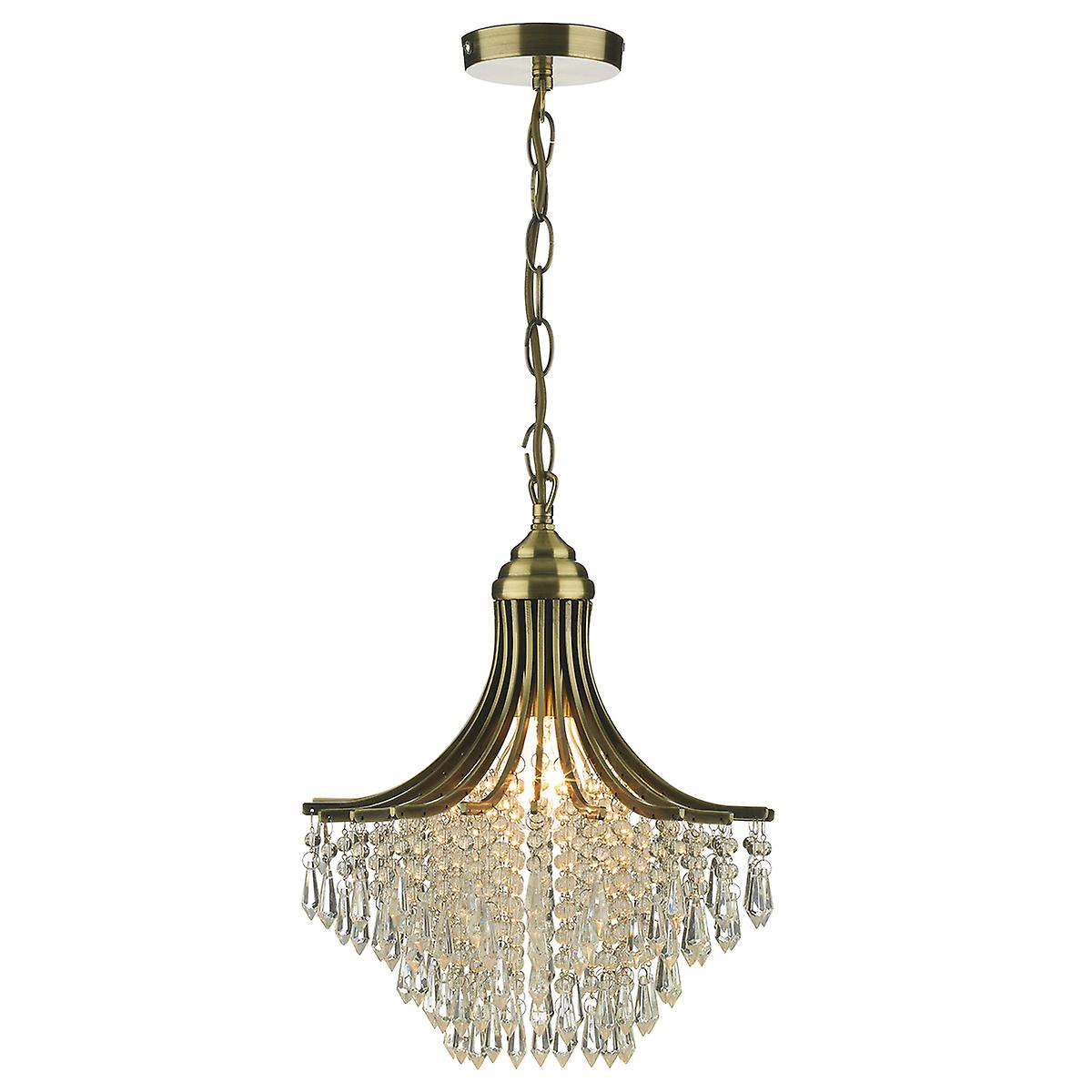 Dar SUR0108 Suri 1 Light Pendant Antique Brass Complete With Clear Beads