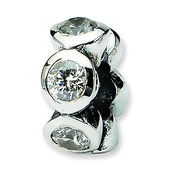 Sterling Silver Antique finish Reflections SimStars Cubic Zirconia Bead Charm