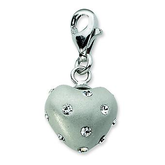 Sterling Silver Click-on White Ferido and Crystal Heart Charm - Measures 23x11mm