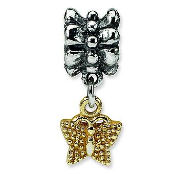 Sterling Zilver, 14k reflecties Butterfly Dangle kraal charme