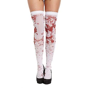 Henbrandt White Bloody Knee High Hold Up Stockings Halloween Accessory