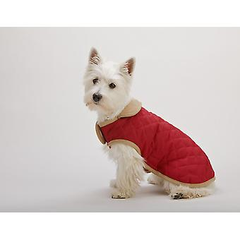 Dog Gone Smart Suede Quilted Belly Coat Red 51cm (20