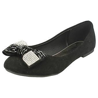 Ladies Spot On Diamante Detail Bow Shoes