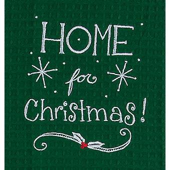 Home for Christmas broderet vaffel ferie grønne køkken parabol håndklæde Kay Dee