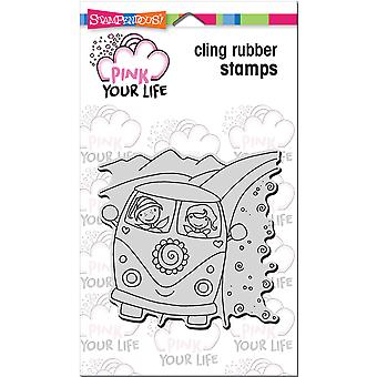 Stampendous Pink Your Life Cling Stamp 6.5