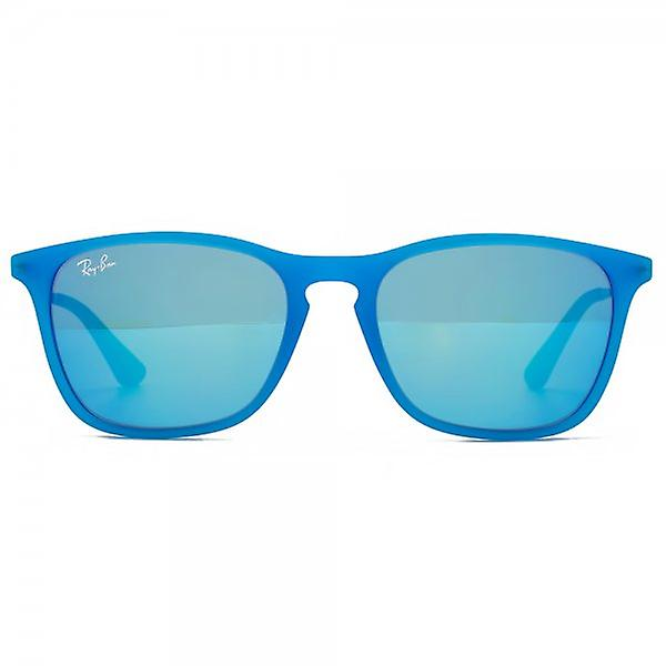 Ray-Ban Junior Keyhole Square Sunglasses In Transparent Blue Fluro