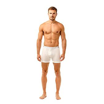 Haigman Mens Two Pack Button Front Cotton Stretch White Boxer Shorts
