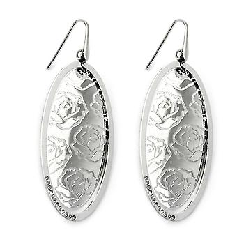 Silver ear hook earrings oval write rose shiny glass silver