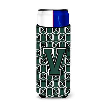 Letter V Football Green and White Ultra Beverage Insulators for slim cans