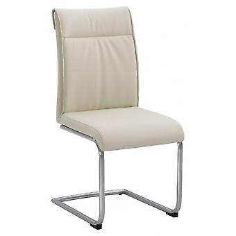 Classic Industrial Dining Chair - High Back-cream Pu-stainless Frame