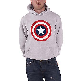 Captain America Hoodie Distressed Shield Logo Official Mens New Grey Pullover