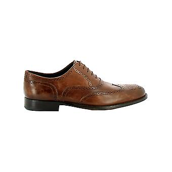 Longhi 170013 mens brown leather lace-up shoes