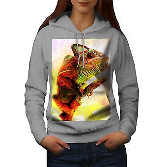 Camaleón salvaje Animal arte mujeres GreyHoodie | Wellcoda