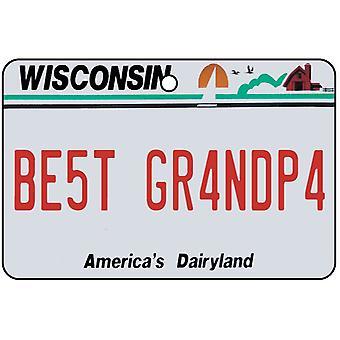 Wisconsin - Best Grandpa License Plate Car Air Freshener