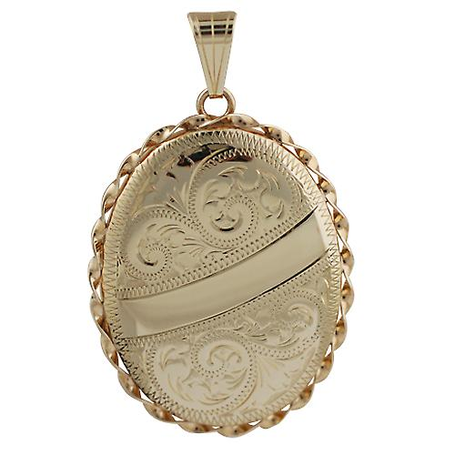9ct Rose Gold 37x28mm engraved twisted wire edge oval Locket