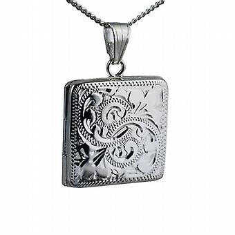 Silver 22mm engraved flat square Locket with a curb Chain 18 inches