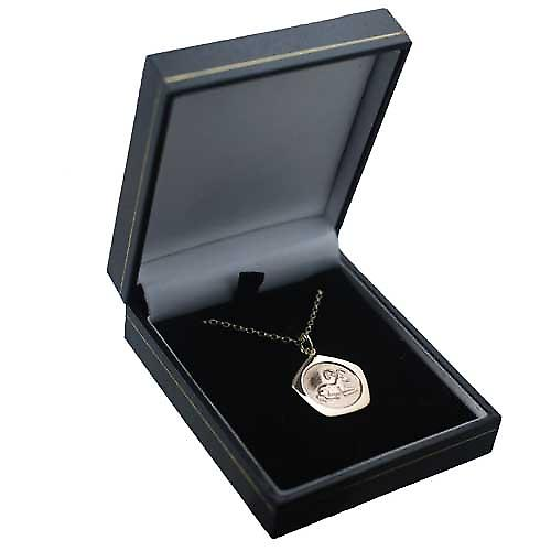 9ct Gold 21mm five sided Aries Zodiac Pendant with a belcher Chain 16 inches Only Suitable for Children