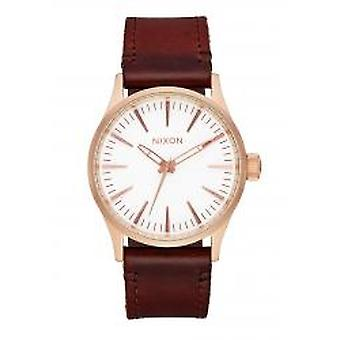 Nixon The Sentry 38 Leather Rose Gold / White / Brown (A3772630)