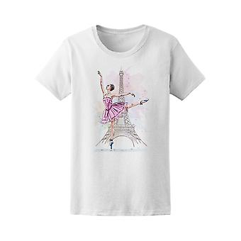 Ballerina Posing On Eiffel Tower Tee Women's -Image by Shutterstock