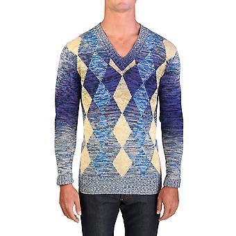 Prada Men's Cotton Argyle Sweater Beige