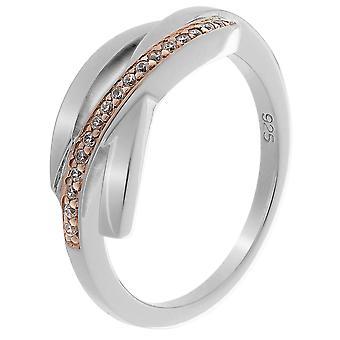 Orphelia plata 925 anillo plata rosa Bicoloror circonio ZR-7232