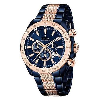 フェスティナ メンズ 2 トーン ブルー ローズゴールド クロノグラフ F16886/1 時計