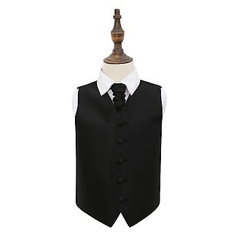 Black Solid Check Wedding Waistcoat & Cravat Set for Boys
