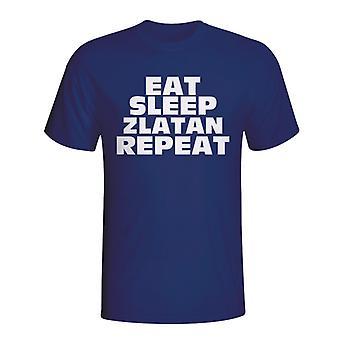 Spise sove Zlatan gjenta T-shirt (marinen)