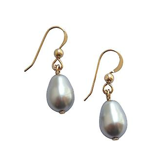 Gemshine womens earrings beaded silver grey drop gold plated 11 mm