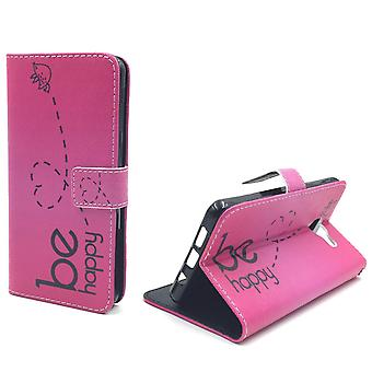 Handyhülle Tasche für Handy Samsung Galaxy A5 (2016) Be Happy Pink