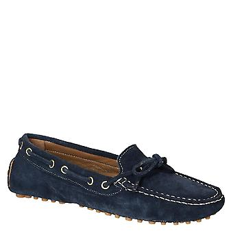 Women's driving moccasins in blue suede leather