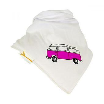 Babero bandana de camper retro blanco y rosa