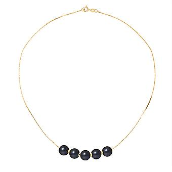 Necklace ras neck woman 5 Black 8 mm AA culture of freshwater pearls and gold yellow 750/1000