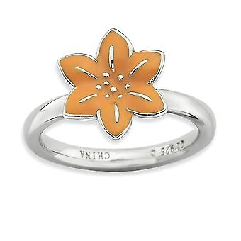 Sterling Silver Enamel Polished Rhodium-plated Stackable Expressions Gladiolus Ring - Ring Size: 5 to 10