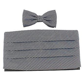 Knightsbridge Neckwear Bow Tie and Cummerbund Set - Black/Silver