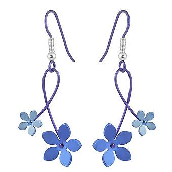 Ti2 Titanium 30mm Double Drop Five Petal Flower Earrings - Blue