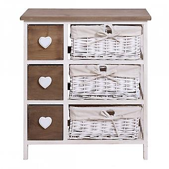 Chest With Brown And White Hearts Style Shabby Chic Furniture-Re4355-Rebecca
