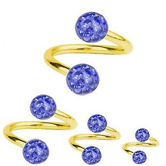 Spirale torsione Piercing oro placcato titanio 1.2, Multi cristallo sfera blu zaffiro   6-12 mm