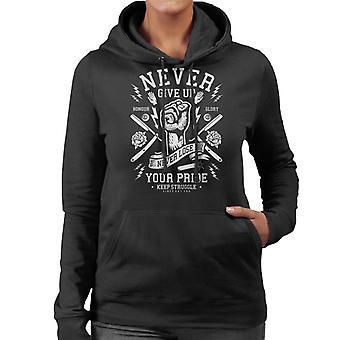 Vintage nooit geven tot verlies nooit uw trots vuist vrouwen Hooded Sweatshirt