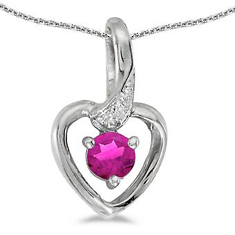 14k White Gold Round Pink Topaz And Diamond Heart Pendant with 18