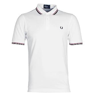 Fred Perry M3600 hvid, lys rød & Navy Twin tippes Slim Fit poloshirt