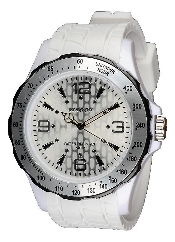 Waooh - White Silicone Watch With Black Bezel Waooh Gpm48 Inspired From Monaco Grand Prix