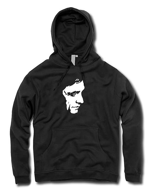 Mens Hoodie - Johnny Cash - BW - Pop Art - ansikte
