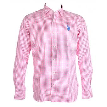 U.S. Polo Assn. Lowell Slim Fit Checkered Pink Shirt